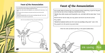 Feast of the Annunciation Activity Sheet - NI Easter, Feast of the Annunciation, Mary, Gabriel, Blessed Virgin Mary, the Annunciation of Our La