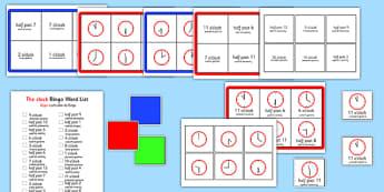 Gra bingo Wpół do i pełna godzina  po polsku - czas, matematyka