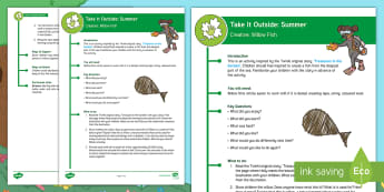 KS1  Take It Outside: Summer Willow Fish Activity - outdoor, learning, forest school, natural, craft, treasures in the garden