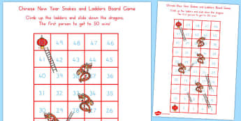 Chinese New Year Themed Snakes Ladder Board Game 1-50 - australia