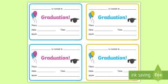 Graduation Invitation Writing Template - end of year, leaving, transition, nursery, EYFS,