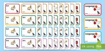 Starling Themed Book Labels - Themed Book label, label, subject labels, exercise book, workbook labels, textbook labels