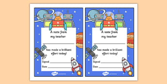 Note From Teacher Brilliant Effort (Space Themed) - note from teacher brilliant effort, brilliant effort, note from teacher, notes, praise, comment, note, teacher, teacher's, parents, brilliant, effort, good effort, space themed, space, themed