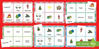 Christmas Bingo Board Game Spanish