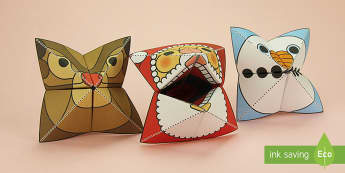 Simple 3D Christmas Fortune Teller Puppet Pack Paper Craft - xmas, craft, paper, Christmas, father christmas, saint nicholas, make, origami, snowman, snow, rudol