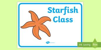 Starfish Class Display Sign - starfish class, display sign, class display sign, display, sign, starfish
