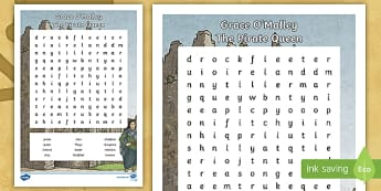 Grace O'Malley Word Search - Grace O'Malley, The Pirate Queen, Irish history, gráinne mhaol, SESE, story,Irish
