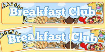 Breakfast Banner - Display banner, breakfast, snack area, breakfast club, cereal, orange, toast, tea
