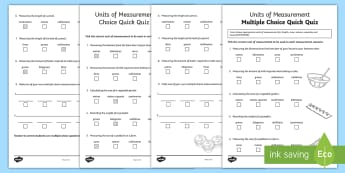 Units of Measurement Multiple Choice Quick Quiz Activity Sheet - ACMMG108, maths quiz, quick quiz, multiple choice quiz, units of measurement, measurement quiz, unit