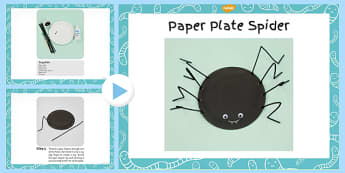 Paper Plate Spider Craft Instructions PowerPoint - minibeast, halloween