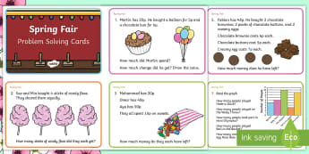 Spring Maths Challenge Cards - NI Spring, fair, addition, subtraction, multiplication, division, mental math, money, pence.