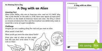 A Day with an Alien Activity Sheet