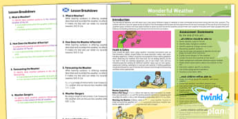 Planit - Geography KS1 - Wonderful Weather Planning Overview CfE - Curriculum for excellence, Scottish, geography, KS1, key stage 1, topic, planning, unit