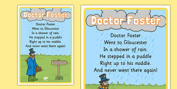 Doctor Foster Nursery Rhyme Poster - rhymes, display, songs