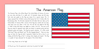 Symbols of the United States The American Flag Passage - US Resources, US Symbols, American Flag
