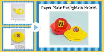 Paper Plate Firefighters Hat Craft Instructions PowerPoint - hat