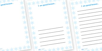 I Am Special Because Snowflake Writing Frame - I am special, ourselves, all about me, writing frames, writing templates, writing aid, line guide, writing