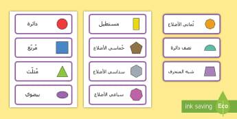 بطاقت كلمات الأشكال ثنائية الأبعاد - أشكال، أشكال هندسية ثنائية الأبعاد، بطاقات تعليمية، م