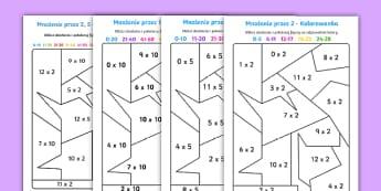 Kolorowanki Mnożenie przez 2 5 i 10 - mnożenie, iloczyn, kolorowanka, kolorowanie, pokoloruj, pomnóż, działanie, działania, liczby, l