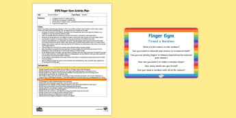 EYFS Thread a Rainbow Finger Gym Plan and Prompt Card Pack - weather, colour, fine motor control, funky fingers, threading, beading