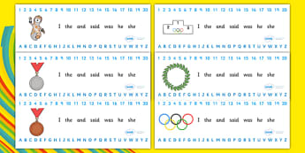 The Olympics Combined Number Alphabet Strips - Olympics, Olympic Games, sports, Olympic, London, 2012, Alphabet, Learning letters, Writing aid, Writing Area, numbers, number formation, activity, Olympic torch, flag, countries, medal, Olympic Rings, m