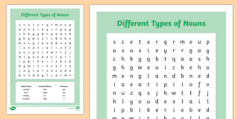 Different Types of Nouns Wordsearch - nouns worksheet, nouns wordsearch, different nouns wordsearch, types of nouns, ks2 literacy wordsearch, ks2