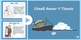 Pŵerbwynt Llinell Amser Y Titanic - titanic, titanic cymraeg, welsh, hanes, i'll never let go