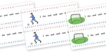 Alphabet Strips (Football) - Alphabet, Learning letters, Writing aid, Writing Area, football