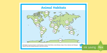 World Map Animal Habitat Display Poster Display Poster - World Map Animal Habitat Labelling Activity - world map, habitat, habitats, animals, around the worl