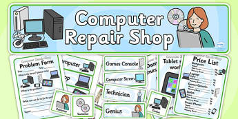 Computer Repair Shop Role Play Pack-computer repair shop, role play, computer shop pack, role play pack, role play material, activities, games