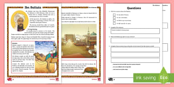 KS2 Ibn Battuta Differentiated Comprehension Go Respond Activity Sheets - UKS2, LKS2, negative, positive, number, zero, forwards, backwards, context, calculate