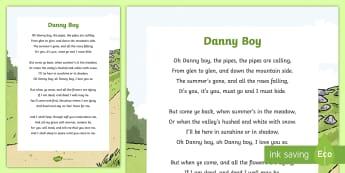 Danny Boy Song Lyrics - ROI- Irish Songs, Danny Boy, Oh Danny Boy, Music, song, ballads, ballad, songs, St Patrick's Day, P