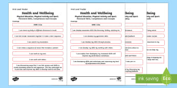 CfE Health and Wellbeing (Physical Education, Physical Activity and Sport) First Level Child Friendly Tracking-Scottish