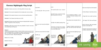 KS1 Florence Nightingale Play Script - EYFS/KS1 Florence Nightingale's Birthday (12.5.17), Florence Nightingale, florence nightingale, Cri
