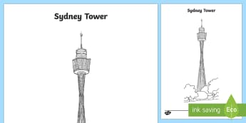 Sydney Tower Colouring Page-Australia - Sydney Australia,Australia, tower, sydney monuments, sydney famous buildings