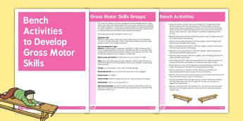 Bench Gross Motor Skills Activities - gross motor, activities