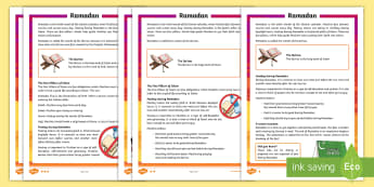 KS2 Ramadan Differentiated Fact File - Ramadan, KS2, fact file, reading, comprehension, Islam, Muslim, religion, religious events, fasting,