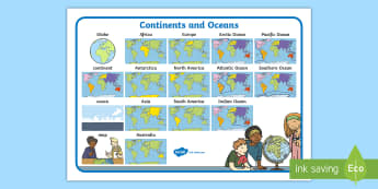 Continents and Oceans Word Mat  - Australian Curriculum, HASS, The way the world is represented in geographic divisions and the locati