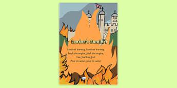 Londons Burning Nursery Rhyme Display Poster - londons burning, nursery rhyme, display poster, nursery rhyme poster, londons burning poster