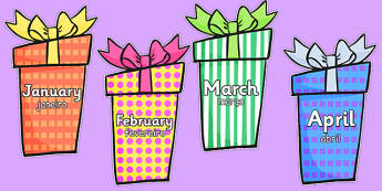 Months of the Year on Birthday Presents Portuguese Translation - portuguese, months, year, birthday