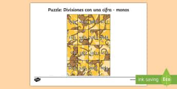 Puzzle: Divisiones con una cifra - monos - dividir, división, repartir, cifras, divide, division, sharing, figures, digits, escrito, escrita,