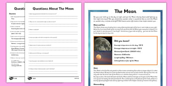Year 5 The Moon Differentiated Reading Comprehension Activity - eclipse, waxing, waning, Neil Armstrong, Apollo11, satellite, moonwalking, 1969, facts