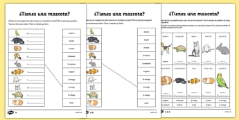 Tienes Mascotas Activity Sheet Spanish - spanish, pets, animals, worksheet