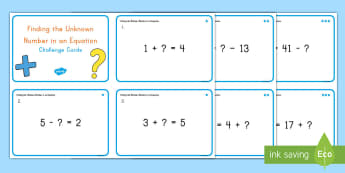 Finding the Unknown Number in Single Digit Equations Challenge Cards - single digit, equations, unknown, algebra, missing number,