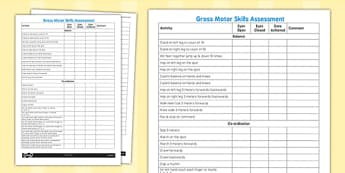 Gross Motor Skills Pupil Assessment Sheet - assessment, sheet