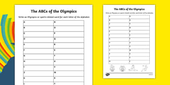The ABCs of the Olympics Writing Activity Sheet, worksheet