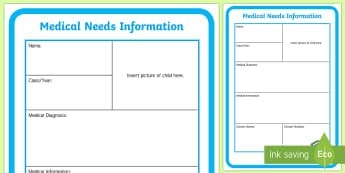 Medical Needs Information A4 Display Poster - Safeguarding, safeguarding, medical needs, medical need poster, medical information, medical display