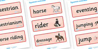 The Olympics Equestrian Word Cards - Equestrian, Olympics, Olympic Games, sports, Olympic, London, 2012, word card, flashcards, cards, activity, Olympic torch, events, flag, countries, medal, Olympic Rings, mascots, flame, compete