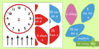 Lipéid Blátha: Clog Analacháide - Analogue Clock Flower Labels, analóg, analógach, clock, clog, bláth,  flower, labels, lipéid, ga