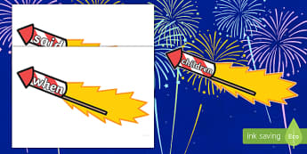 Phase 4 Words on Firework Rockets Cut-Outs